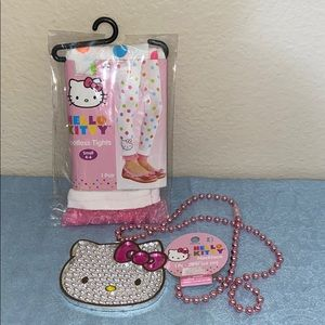 NWT HELLO KITTY (SANRIO)footless tights & necklace